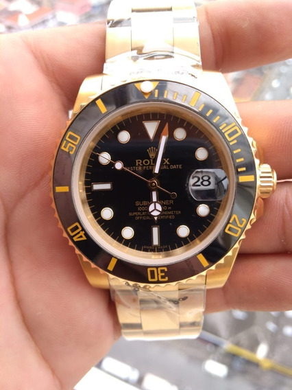 Relógio Masculino Dourado E Preto Submariner