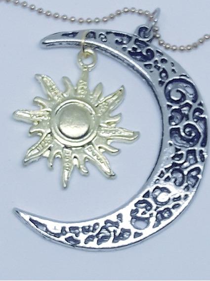 Colar Sou Luna, Soy Luna! Lua, Aço Com Negrito E Sol Dourado