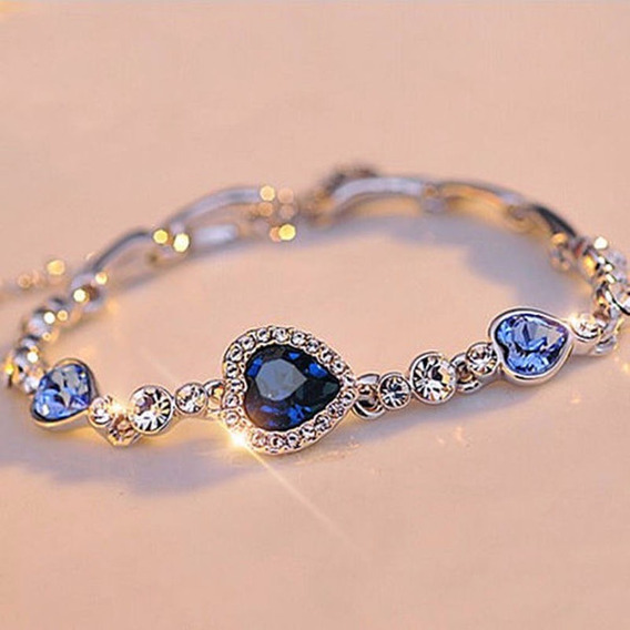 Pulseira De Berloque Azul Jóia De Cristal Prata Chapeado