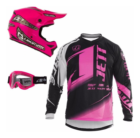 Capacete Camisa Feminino Jett Protork Rosa Trilha Motocross