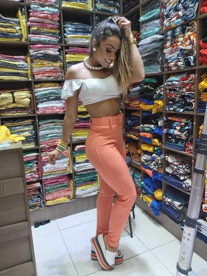 Calça Skinny Colorida Com Cinto A Pronta Entrega