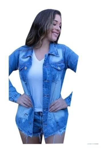 Jaqueta Jeans Feminina Max Tendência Blogueiras Destroyed