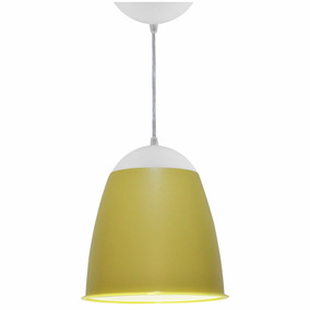 Lustre Utron Luminária Pendente Teto Taça 20cm Amarelo Bebê