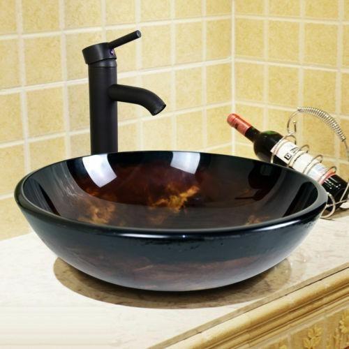 Baño Moderno Vidrio Templado Buque Fregadero Con Grifo -4330