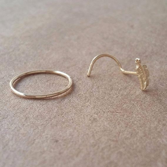 Piercing Nariz Ouro 18k (750) Nostril De Pena + Argola 0,55m