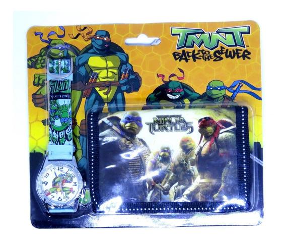Relógio + Carteira 3d Tartarugas Ninja Analógico Oferta 010