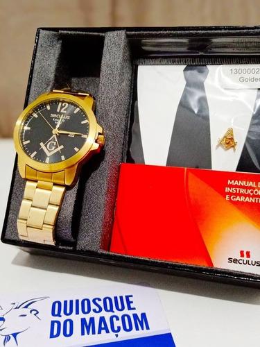 Relógio Seculus Dourado Maçonaria