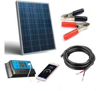 Placa Solar 20w Controlador 10a 1 Bateria 12 V 7a 6m Cabo