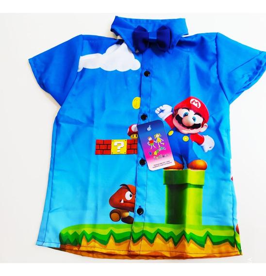Camisa Temática Super Mários Bros Festa Luxo