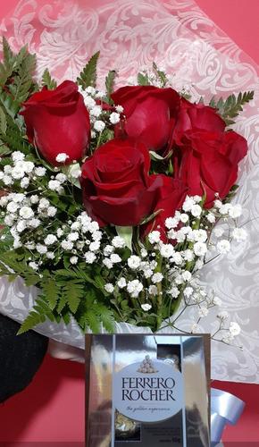 Floreria Ramo De 6 Rosas Con Bombones.envios Gratis