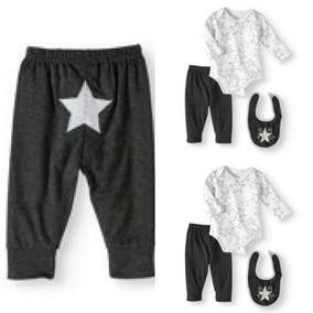 Bodysuit Menino Recém-nascido, Calças E Babador, 3pc Outfit