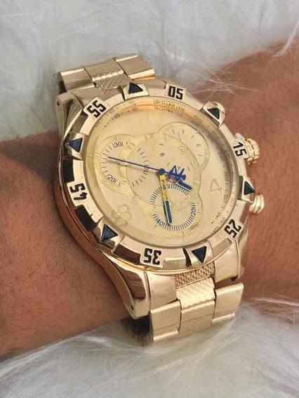 Relógio De Pulso Masculino Aço Dourado