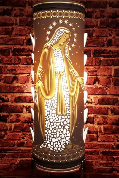 Luminária Artesanal Em Pvc Nossa Senhora Das Graças 30cm
