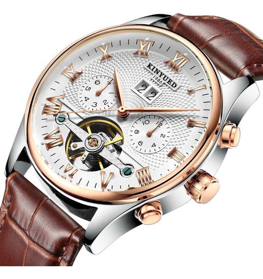 Reloj Para Hombre Automático Mecánico Kinyued Cafe J0121 Sk