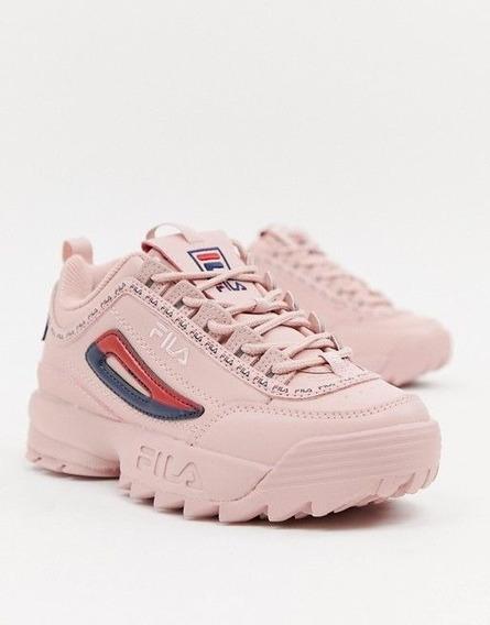 Zapato Fila De Dama Blanco/vinotinto/rosado/amarillo