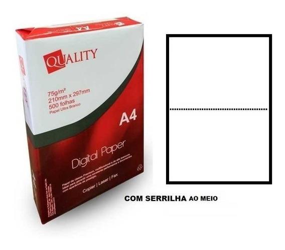 Papel A4 500fls Branco 75g Serrilhado Ao Meio Quality