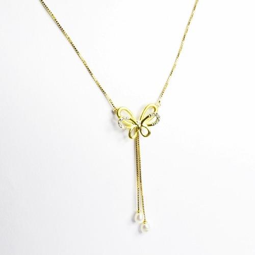 Gargantilha Borboleta Ouro 18k 13 Diamantes E Perolas