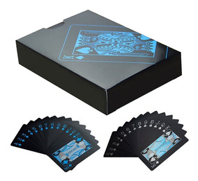 Baralho Preto Azul Pvc Magica Illusionista Poker 55cts