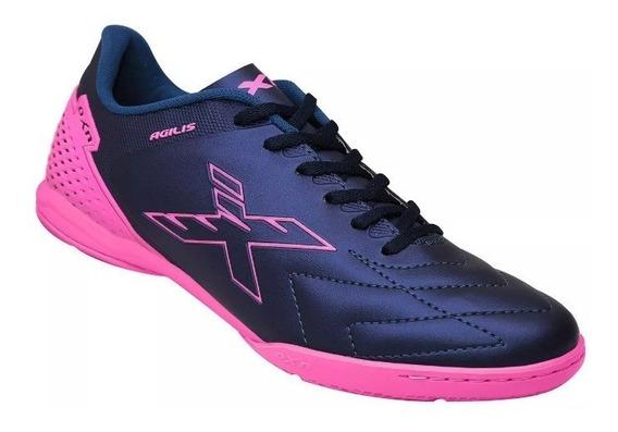 Tenis Futsal Oxn Agilis Feminino Marinho Pink Original