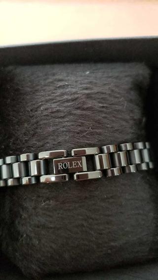 Bracelete/pulseira Rolex Em Aço Inoxidável, Cor Preta 22cm
