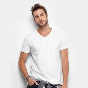 a262231d20 Camiseta Lisa Branca Gola V 100% Algodão Fio 30.1 Atacado ...