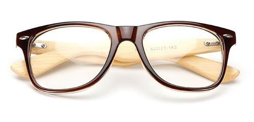 4ffd05a0c Armação Óculos De Grau Com Haste De Madeira- Marrom - Retrô