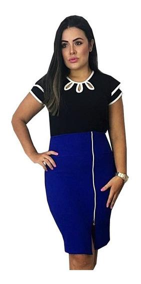 Conjunto Feminino Saia Ziper + Blusa Gota Moda Evangelica