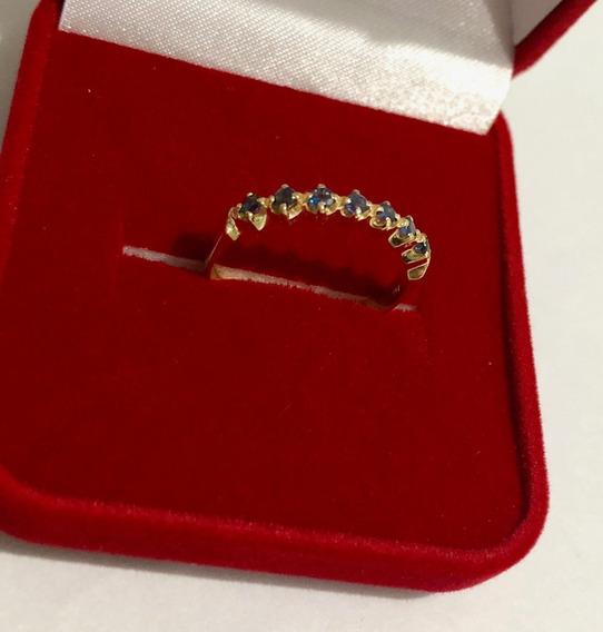Anel Com 7 Pedras De Safiras Azuis Naturais Em Ouro 18k