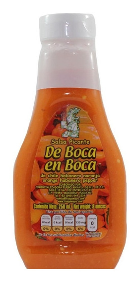Salsa De Chile Habanero Naranja, De Boca En Boca 250 Ml