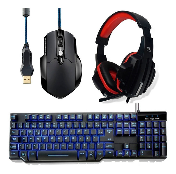 Kit Gamer Teclado Led + Mouse Bluetrack + Fone Headset