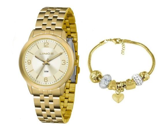 Relógio Lince Feminino Lrg4505l Ku47c2kx Kit Pulseira 4505