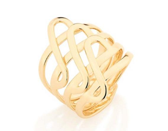 Anel Folheado A Ouro Rommanel Com Parte Superior Formato De S 511177