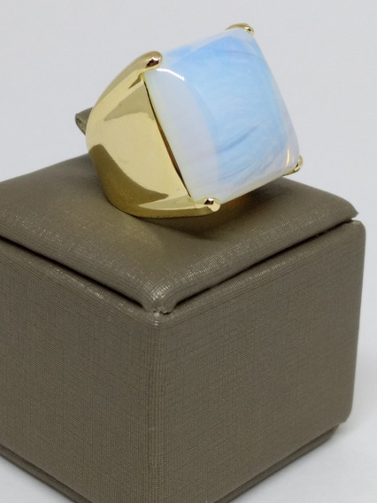 Anel Feminino Grande Largo Folheado Ouro Pedra Da Lua C366