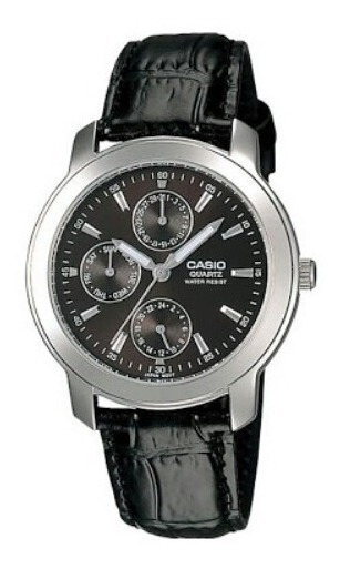 Reloj Casio Modelo Mtp 1192 Extensible De Piel Negro