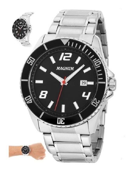 Relógio Masculino Prata Magnum Prateado 2 Anos De Garantia