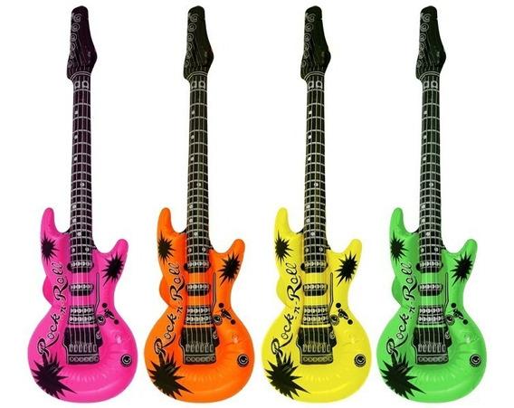 12 Guitarra Inflable Fiesta Pvc 90 Cm Boda Batucada Xv Años