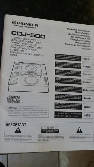 Manual Cdj 500 Pioneer Original Primeira Versão