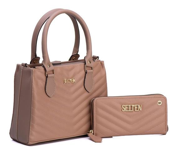 Bolsa Feminina Com Carteira Clutch Matelassê Combo Exclusivo