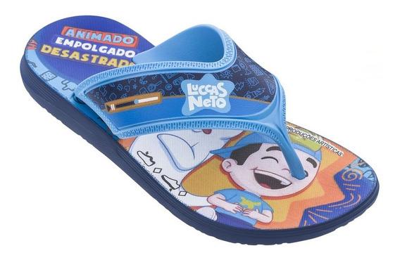Chinelo Infantil Luccas Neto Grendene Azul Do 23 Ao 34