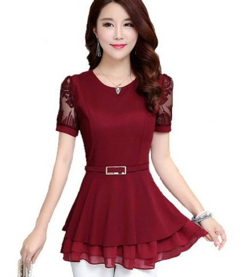 Camisa Blusa Feminina Rendas Costura Chiffon Importada