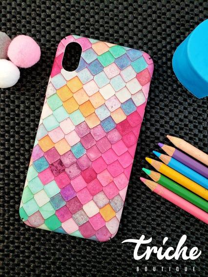 Funda Case Mosaico Colores Sirena Dama Mujer iPhone Xr