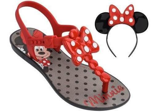 Sandálias Infantil Minnie Bow Vermelho Tiara Disney 25 Ao 33