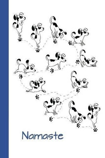 Journal : Dog Yoga (namaste/blue) 6x9 - Dot Journal - Journa