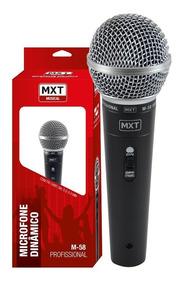 Microfone Profissional Dinâmico Mxt M-58 + Cabo 3 Metros