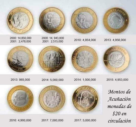 Coleccion Completa 12 Monedas 20 Pesos Conmemorativas