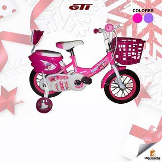 Gti Bicicleta Aro 12 Para Niña Con Canasta