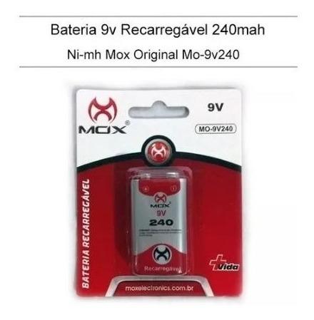 Bateria Recarregavel 9v Mox 240