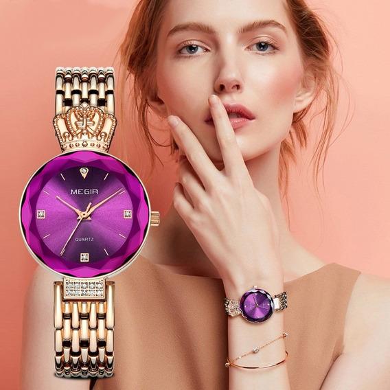 Megir 4216 Relógio De Quartzo Moda Luxo Senhora Ouro