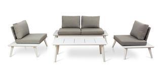 Juego Jardin Ext Premium Diseño Minimalista Blanco Prestigio
