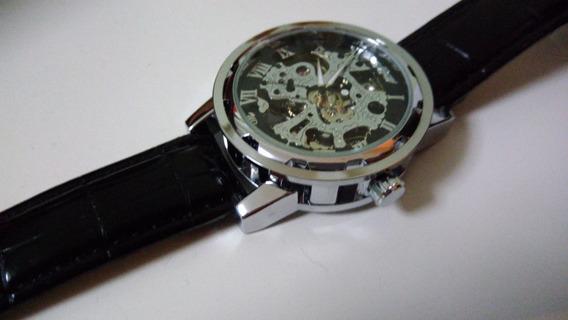 Relógio Social Casual Esqueleto Automático Romano Cromado